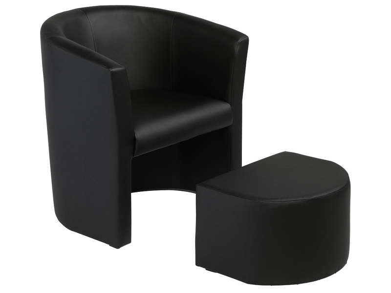 cabriolet pouf manon coloris noir en pu vente de tous. Black Bedroom Furniture Sets. Home Design Ideas