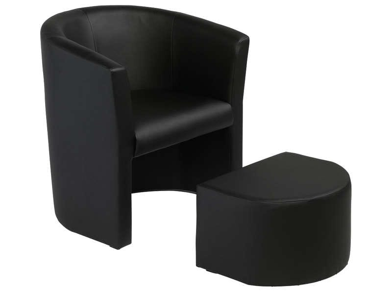 cabriolet pouf manon coloris noir en pu vente de tous les fauteuils conforama. Black Bedroom Furniture Sets. Home Design Ideas