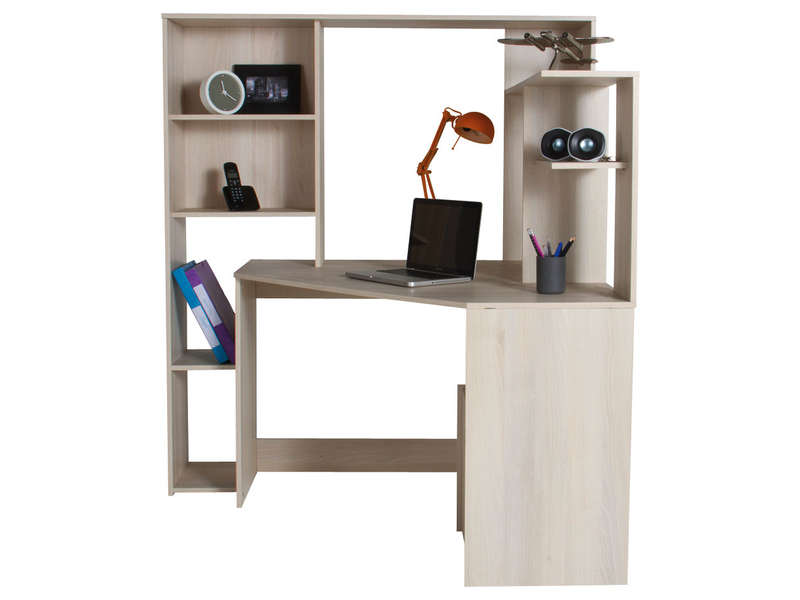 bureau d 39 angle groove coloris acacia vente de bureau conforama. Black Bedroom Furniture Sets. Home Design Ideas