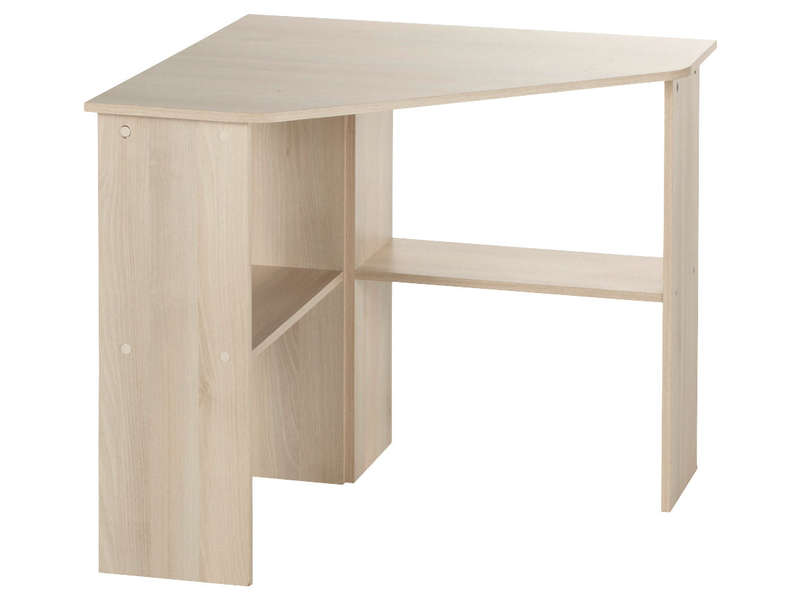 Bureau informatique d 39 angle angus coloris acacia vente for Bureau 90 cm largeur