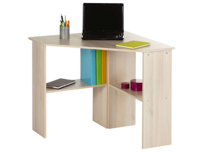 Bureau informatique d 39 angle angus coloris acacia vente for Mini bureau informatique