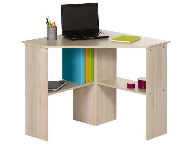 Bureau informatique d 39 angle angus coloris acacia vente for Meuble d ordinateur d angle