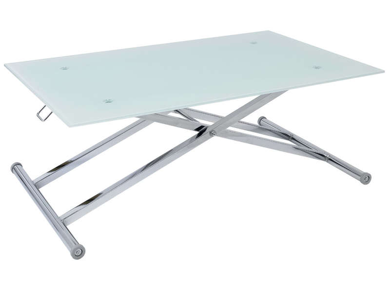 table basse relevable blanc fly