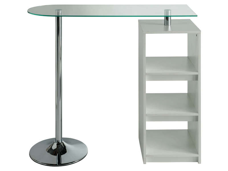 Table de bar youen coloris blanc vente de table de for Separation de cuisine en verre