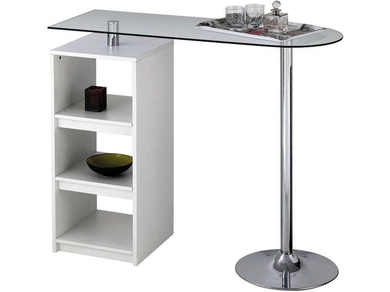 Table de bar youen coloris blanc vente de table de cuisine conforama - Table haute de bar pas cher ...