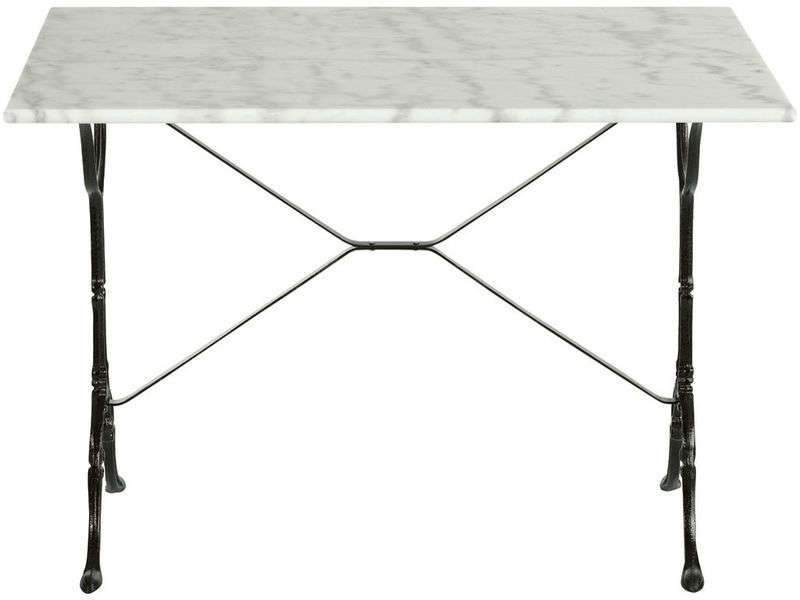 Table rectangulaire en marbre et m tal noir java vente - Table bistrot marbre ronde pied fonte ...