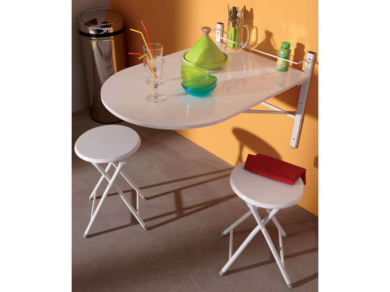 Table murale 2 tabourets plilly coloris blanc vente de for Table cuisine rabattable murale