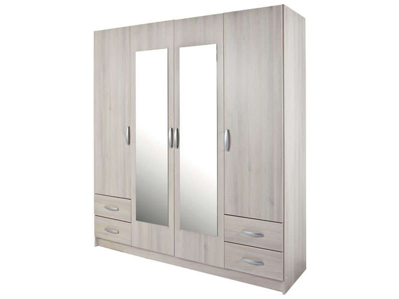 armoire 4 portes 4 tiroirs spot 31 d cor imitation acacia. Black Bedroom Furniture Sets. Home Design Ideas