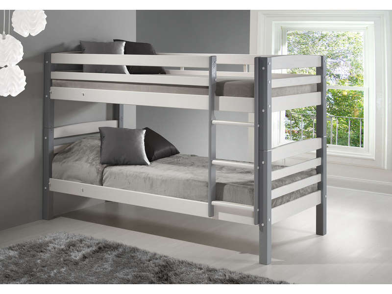 Lit Superpose En Bois Blanc : lit en option) HARRY 5 coloris blanc/gris – Vente de Lit enfant