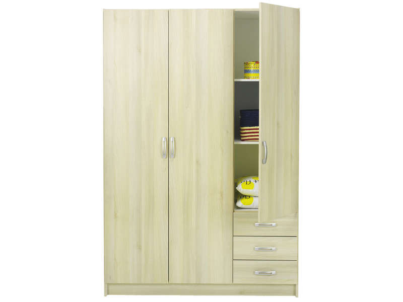 armoire 3 portes 3 tiroirs lola coloris acacia vente de. Black Bedroom Furniture Sets. Home Design Ideas