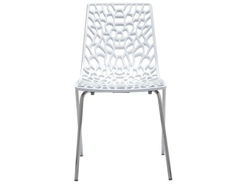 Chaise groove 2 coloris blanc vente de chaise conforama for Chaise blanche conforama