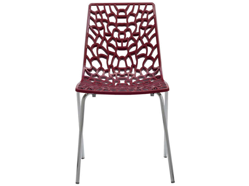 Chaise groove 2 coloris rouge vente de chaise conforama for Chaise rouge