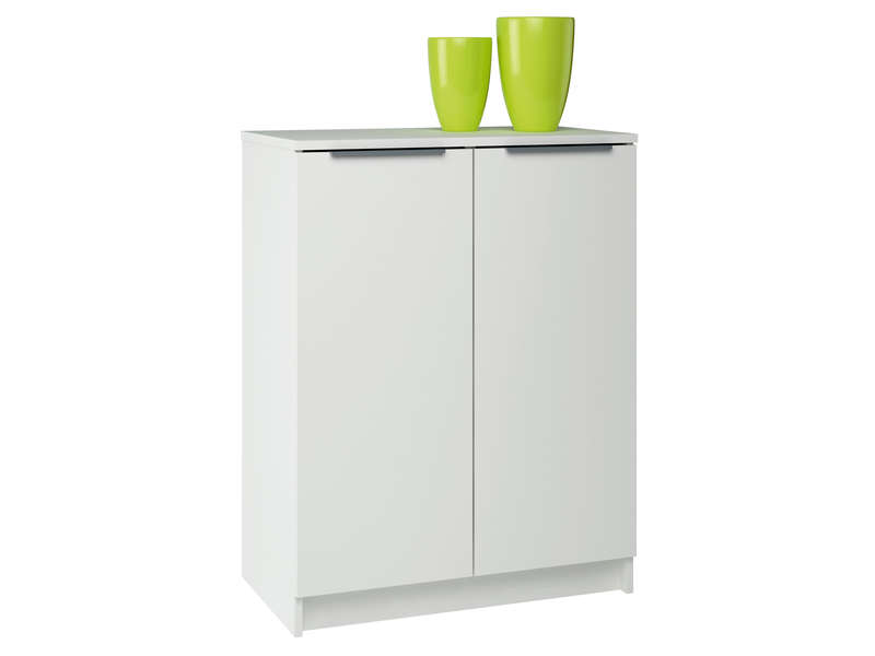 Rangement 2 portes space coloris blanc vente de buffet for Meuble laque blanc conforama