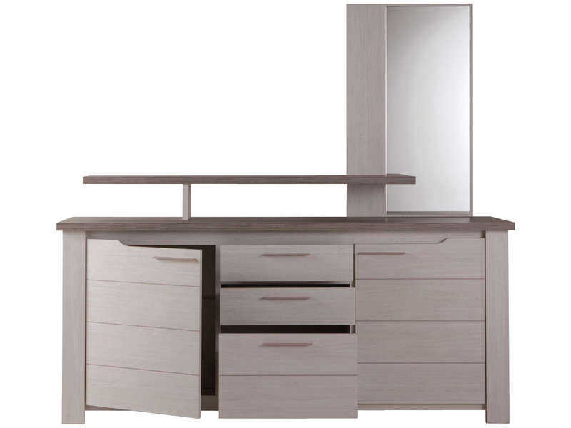 best buffet portes tiroirs toscane coloris ch ne gris et with buffet toscane conforama with. Black Bedroom Furniture Sets. Home Design Ideas