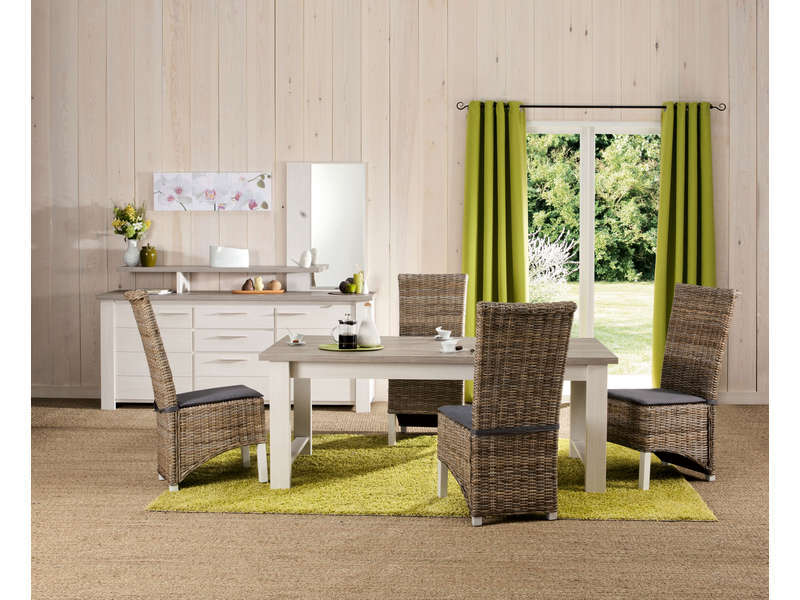 Good table cm toscane coloris chne gris et frne blanchi for Chaises salle a manger conforama