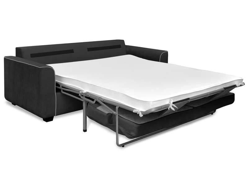 Canap convertible 3 places marina coloris anthracite for Conforama canape convertible