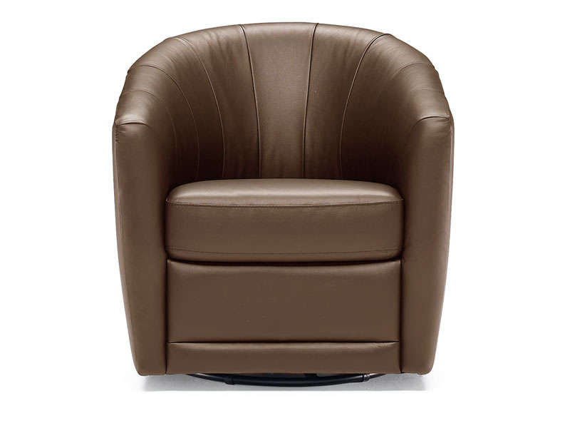 fauteuil pivotant en cuir toupy coloris chocolat vente. Black Bedroom Furniture Sets. Home Design Ideas