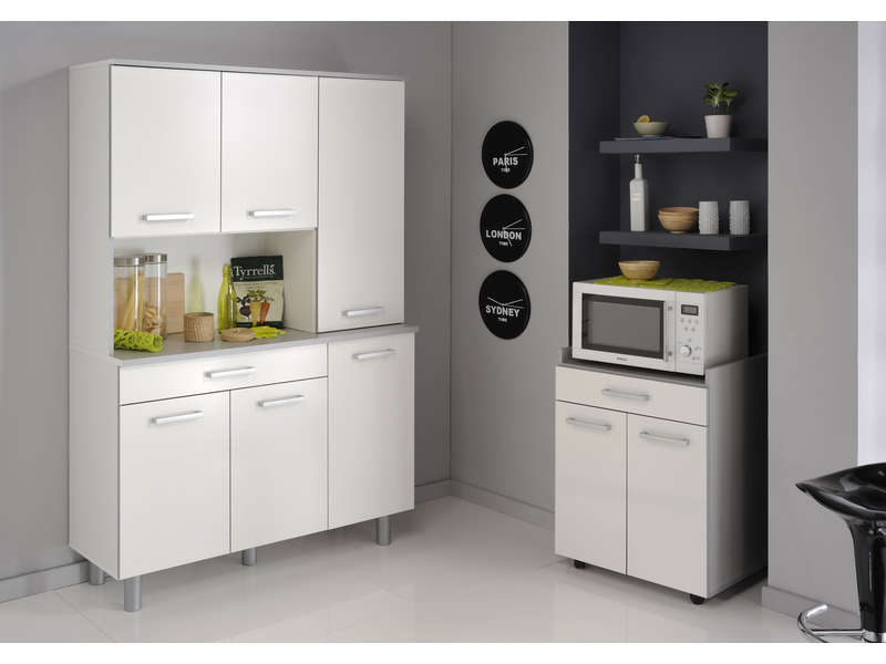 Buffet opale coloris blanc vente de buffet de cuisine for Buffet de cuisine conforama