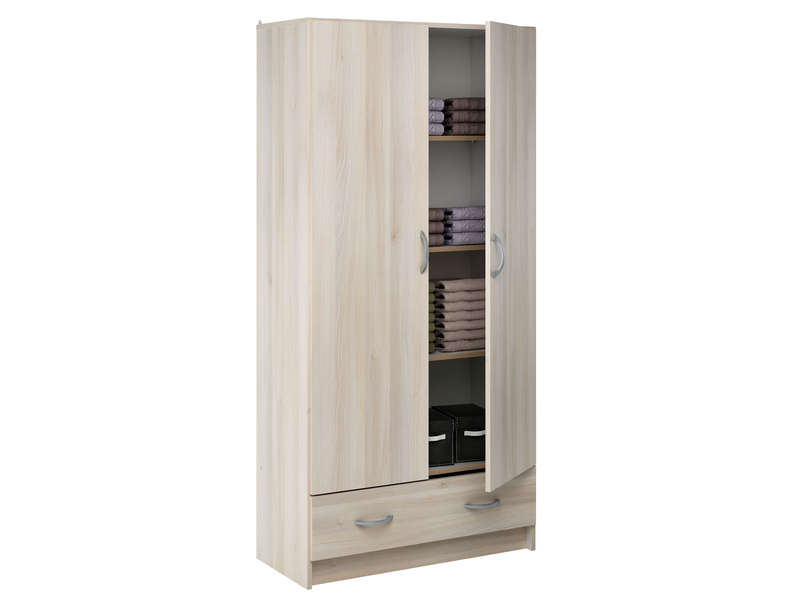 Ling re 2 portes 1 tiroir cobi coloris acacia vente de for Conforama penderie