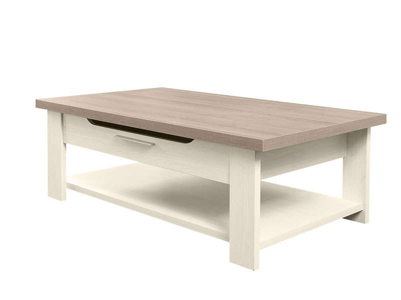 Table basse rectangulaire toscane coloris ch ne gris et for Table de salle a manger annee 70