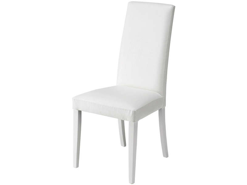 Chaise dundee coloris blanc vente de chaise conforama for Chaise blanche conforama