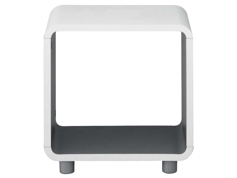 Chevet niche boxi coloris blanc gris vente de chevet for Conforama table de nuit