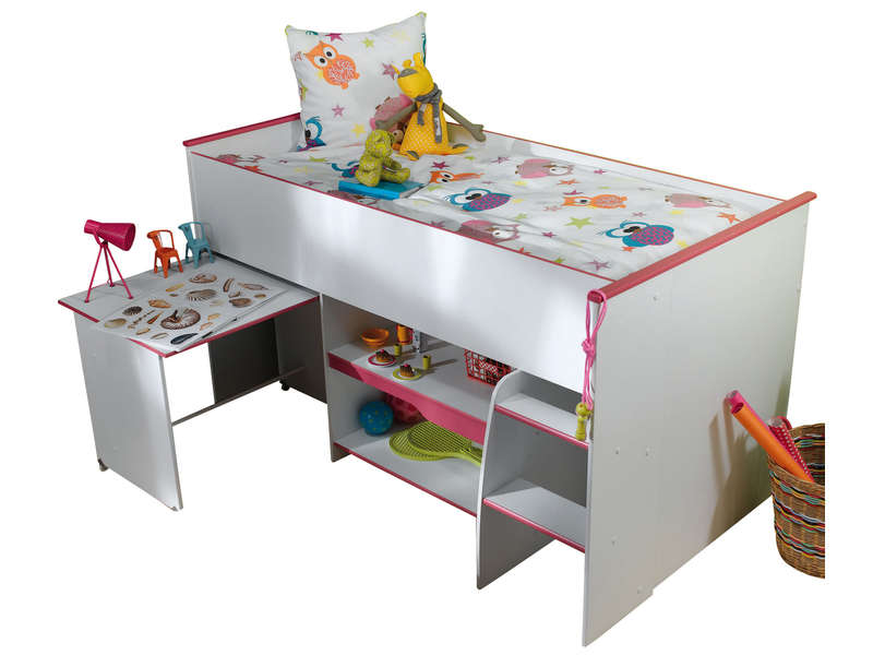 lit sur lev combin moby coloris blanc et rose vente de lit enfant conforama. Black Bedroom Furniture Sets. Home Design Ideas