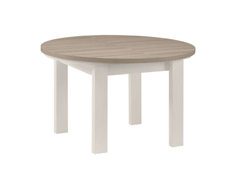 Table ronde avec allonge 150 cm max toscane coloris ch ne for Table extensible 120 240 cm allonge integree