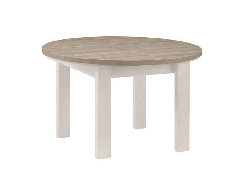 Table ronde avec allonge 150 cm max toscane coloris ch ne for Table ronde en bois avec rallonge