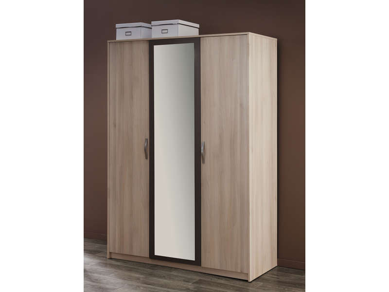 armoire 3 portes graphic coloris acacia vente de armoire. Black Bedroom Furniture Sets. Home Design Ideas