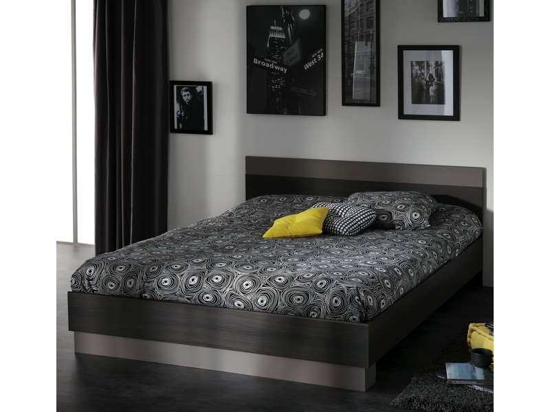 lit 160x200 cm graphic coloris ch ne vulcano vente de lit adulte conforama. Black Bedroom Furniture Sets. Home Design Ideas
