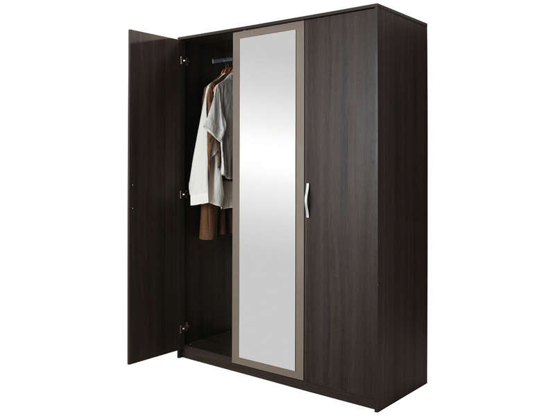 armoire 3 portes battantes graphic coloris ch ne vulcano vente de armoire conforama. Black Bedroom Furniture Sets. Home Design Ideas