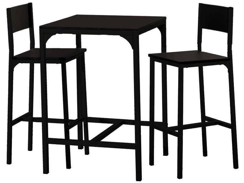Ensemble table 2 tabourets de bar loko coloris noir for Table bar avec tabouret