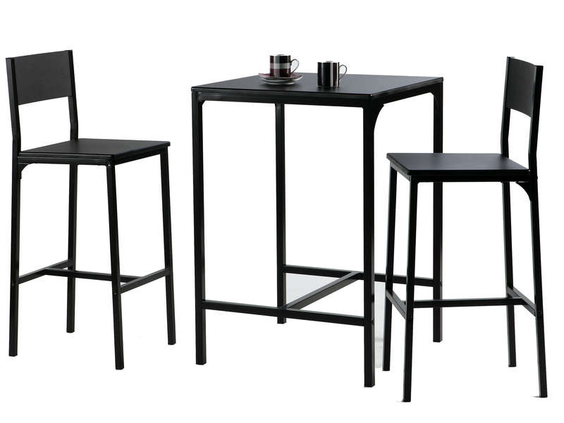 Table De Bar Noir.Ensemble Table 2 Tabourets De Bar Loko Coloris Noir