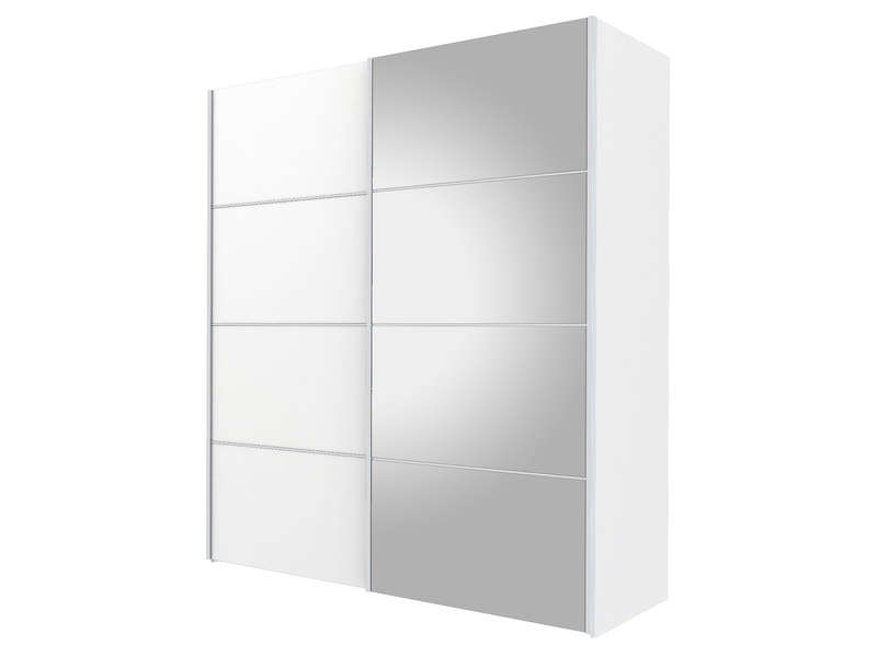 armoire 2 portes coulissantes miroir 180cm verona coloris blanc chez conforama. Black Bedroom Furniture Sets. Home Design Ideas