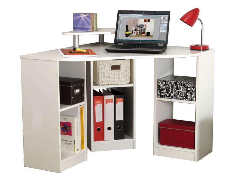 bureau d 39 angle corner coloris blanc vente de bureau conforama. Black Bedroom Furniture Sets. Home Design Ideas