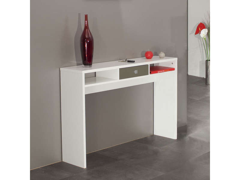 console coloris blanc taupe vente de console conforama. Black Bedroom Furniture Sets. Home Design Ideas