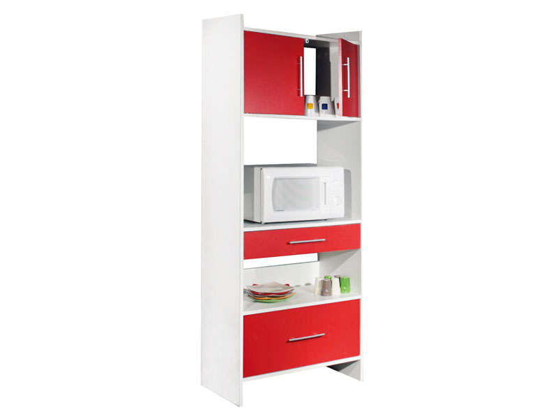 desserte haute 2 tiroirs 2 portes valy coloris blanc rouge vente de meuble micro ondes et. Black Bedroom Furniture Sets. Home Design Ideas
