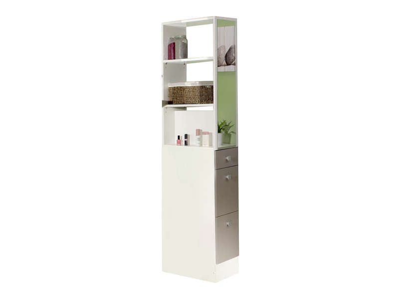 colonne salle de bain 54 x 24 5 cm esther coloris blanc taupe vente de armoire colonne. Black Bedroom Furniture Sets. Home Design Ideas