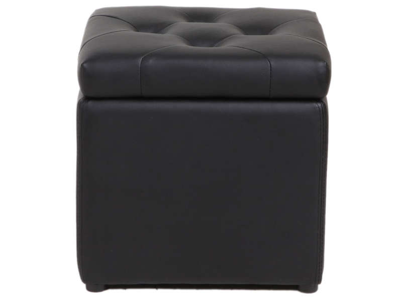 pouf coffre 37x45 cm botai coloris noir vente de pouf conforama. Black Bedroom Furniture Sets. Home Design Ideas