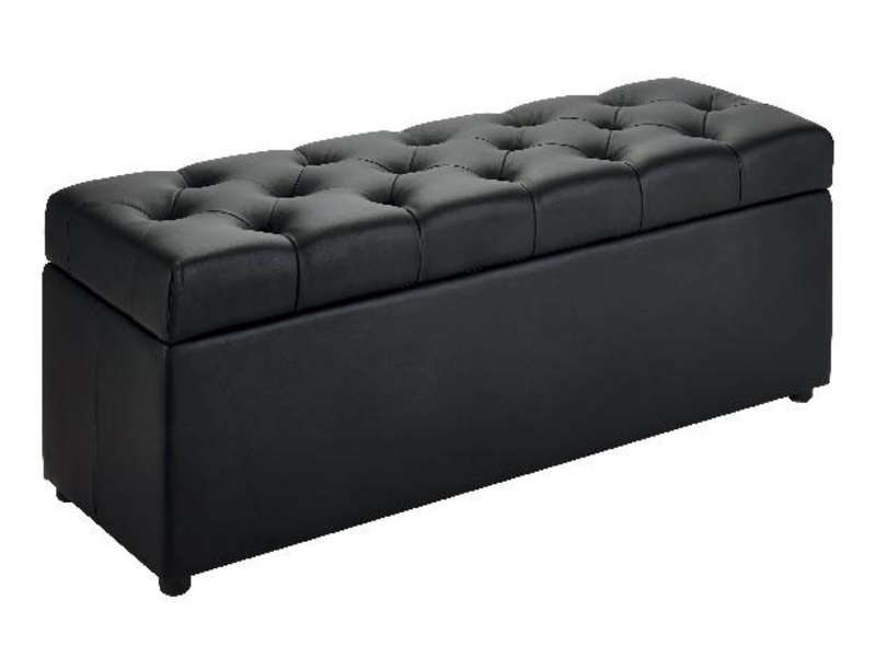 banc coffre 120x45 cm botai coloris noir vente de pouf conforama. Black Bedroom Furniture Sets. Home Design Ideas