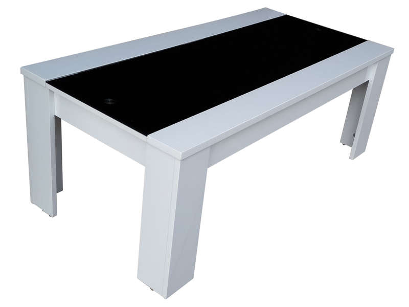 Table basse jackson coloris blanc noir vente de table basse conforama - Table basse laque noir et blanc ...