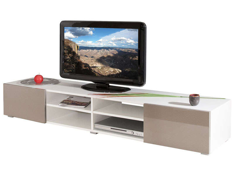 Meuble tv 4 niches 2 tiroirs fa ades laqu es magnus coloris blanc taupe v - Meuble tv taupe design ...