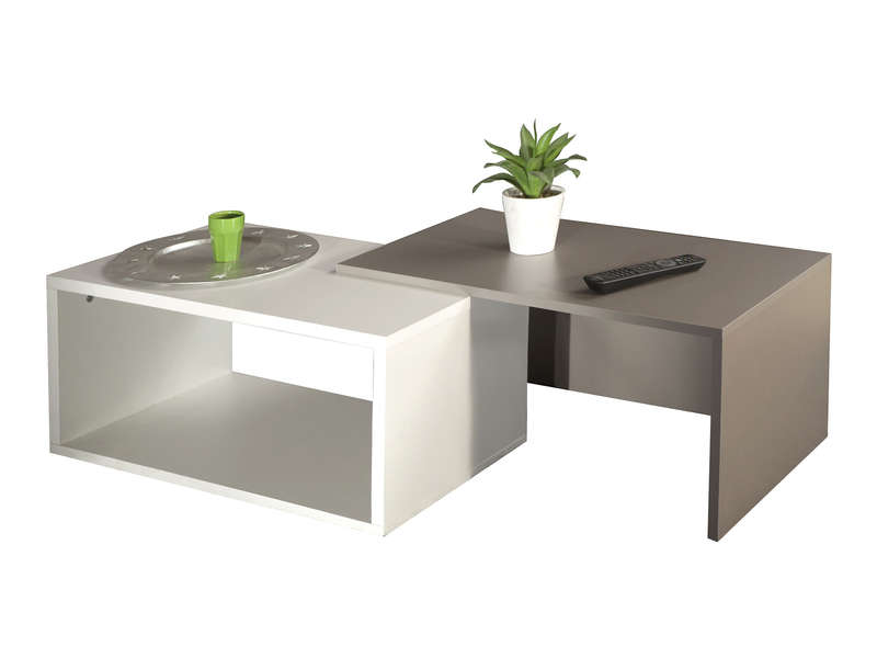 Table basse gigogne rubis coloris blanc taupe vente de - Table de salon conforama en verre ...