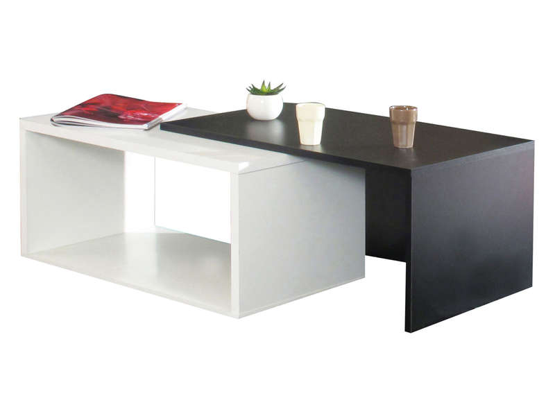 Table Basse Gigogne Rubis Coloris Blanc Noir Vente De Table
