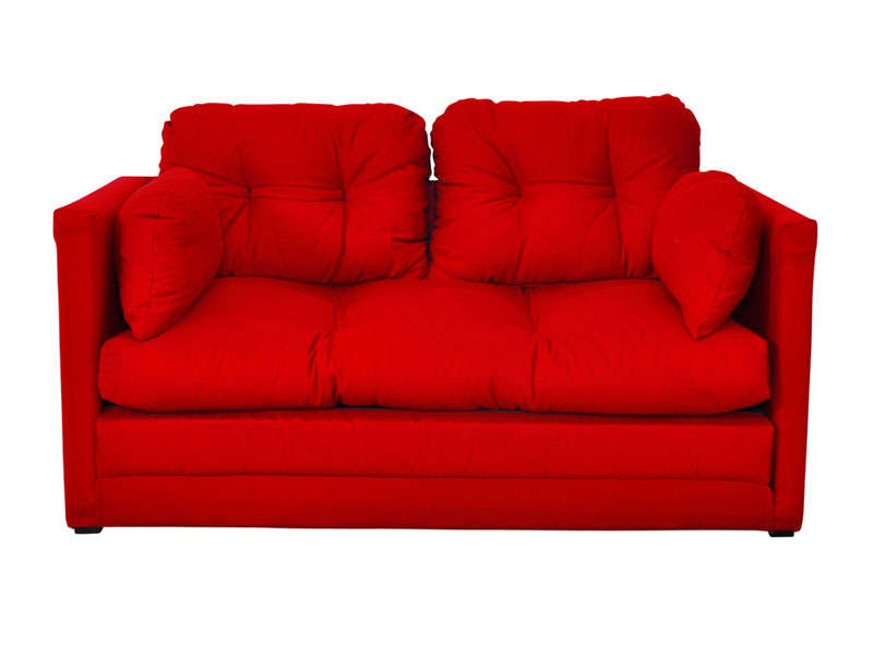 Canap convertible 2 places pillo coloris rouge vente de canap droit con - Lit 2 place conforama ...