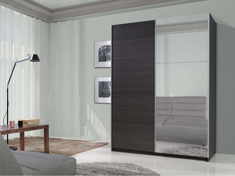 armoire 2 portes coulissantes dont 1 porte miroir cm. Black Bedroom Furniture Sets. Home Design Ideas