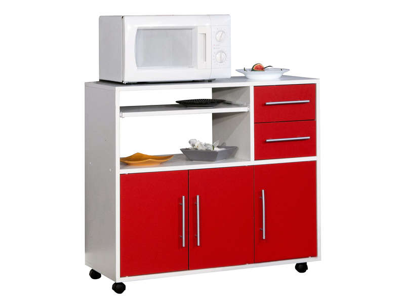 Desserte micro ondes pretty coloris blanc rouge vente de for Micro cuisine design