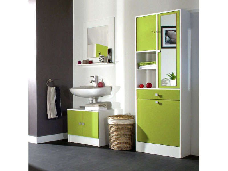 meuble sous lavabo miroir ling re wave coloris vert. Black Bedroom Furniture Sets. Home Design Ideas