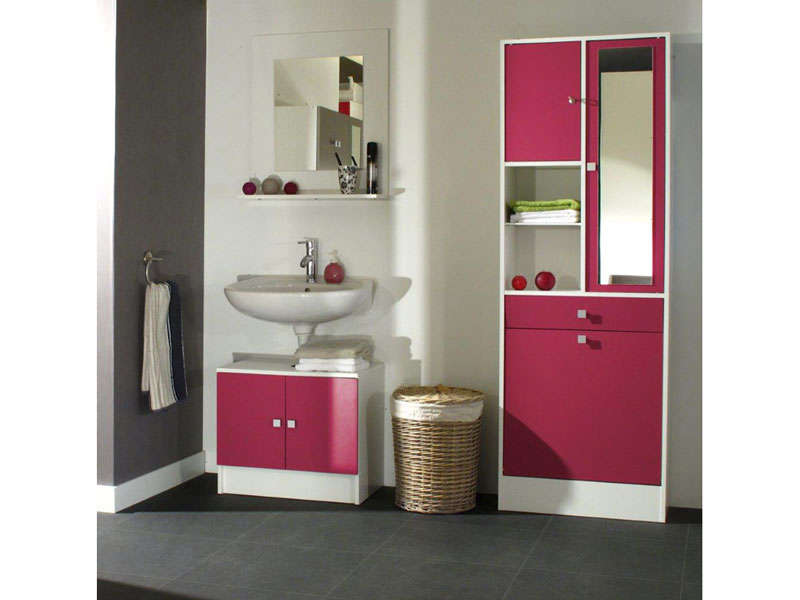 meuble sous lavabo miroir ling re wave coloris fushia. Black Bedroom Furniture Sets. Home Design Ideas